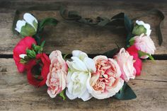 Blush garden floral crown with artificial cabbage rose, ranunculus and gardenia flowers. Adjustable with rayon grosgrain ribbon on ends. Kerry Ann Stokes