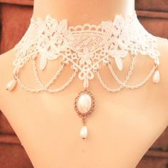 SHARE & Get it FREE   Chic Faux Pearl Pendant White Lace Necklace For WomenFor Fashion Lovers only:80,000+ Items • FREE SHIPPING Join Twinkledeals: Get YOUR $50 NOW!