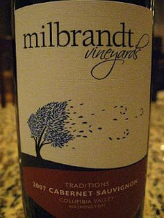 Wine label from Milbrandt Vineyards in Prosser WA. The tree is a great visual.