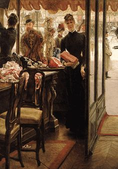 """Shopgirl"" (The Miliner's Shop) by James Tissot, 1885, French"
