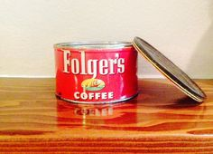 Vintage Coffee Can with candle inside from Etsy