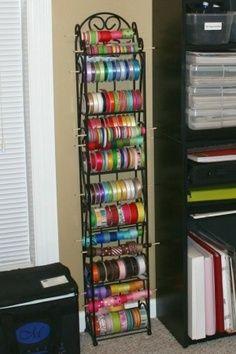 DIY Ribbon Racks | DIY Ribbon & Gift Wrap Organizers + Storage Ideas