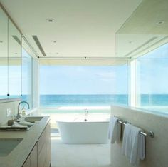 Ocean front bathroom  - who doesn't like this?!