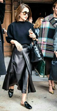 Black leather wrap maxi skirt and black sweater