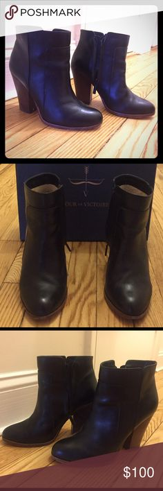 "Pour la Victoire ""Rocker"" booties LIKE NEW 6.5 Leather Rocker booties only worn a few times! Leather upper, lining and sole. Almond toe. Stacked heels measure 3.75"". Side zip for easy on/off. Made in Brazil. Comes with box! Pour la Victoire Shoes Ankle Boots & Booties"