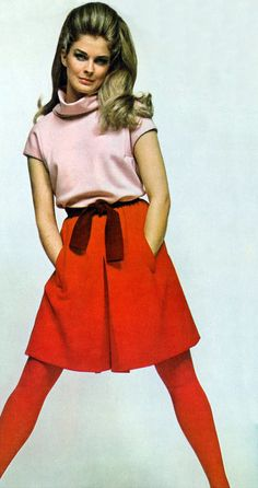Candice Bergen by Bailey vogue 1967 vintage fashion style color photo print ad model magazine 70s 60s skirt shirt sweater red pink mini tights belt dress
