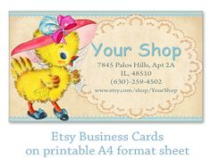 Etsy Business cards Personalized pre-made business cards on Printable digital collage sheet Printable download Etsy shop set made by FrezeArt