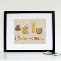 Beer glasses cross stitch pattern, printable stitching pattern pdf, beer mug cross stitch chart, cheers & beers needlepoint kit chart
