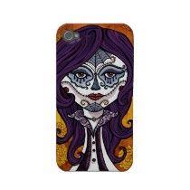 Dia de los Muertos iphone4 case-orange Iphone 4 Case by GirlsWithCurlz