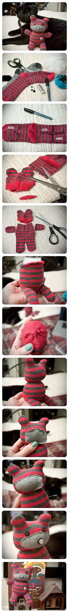 DIY Cute Little Teddy Bear Flip your sock back to front and draw the head and ears at the toe end. The heel turns into his minimal bum and you draw out the legs on the opposite side of that. Whatev…