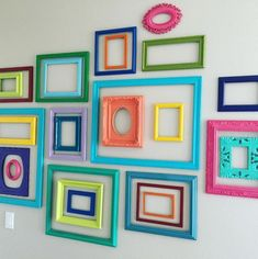 Wall Decor 21 gallery wall ideas that will solve your blank wall woes Laminate Flooring Guide Want a Colorful Picture Frames, Empty Picture Frames, Picture Frame Decor, Painted Picture Frames, Colorful Wall Art, Colorful Pictures, Colorful Decor, Gallery Wall Frames, Frames On Wall