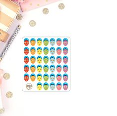 * All PaisleyPrintsCo stickers are printed on matte sticker paper * You will receive one sheet as pictured - stickers are approx Coton Colors, Dry Erase Calendar, Happy Everything, Erin Condren Life Planner, Sticker Paper, Planner Stickers, Unique Jewelry, Handmade Gifts, Face