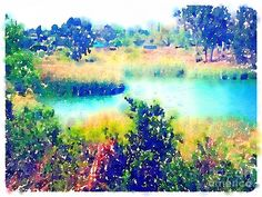 Watercolor Painting - Inlet Cove At Lake Murray San Diego California by John Castell