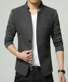 Solid Color Knit Splicing Stand Collar Long Sleeve Slimming Trendy Cotton Blend Blazer For Men Look Blazer, Casual Blazer, Men Casual, Men Blazer, Urban Fashion, Mens Fashion, Fashion Tips, Style Fashion, Fashion Menswear