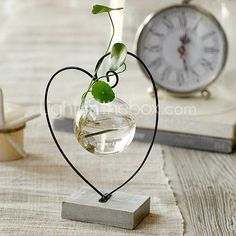 Orbal Glass Floral Planting Pot in Heart Shape