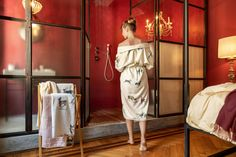 To complement the bed linen collection for autumn/winter Christian Fischbacher is presenting a lined women's bathrobe with the design IT'S SNOWING MY DEER. Bed Linen, Linen Bedding, Fall Winter, Autumn, Deer, Strapless Dress, Christian, Snow, Bath