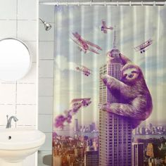 Slothzilla Sloth Shower Curtain Hooks Included por sharpshirter, $35.00