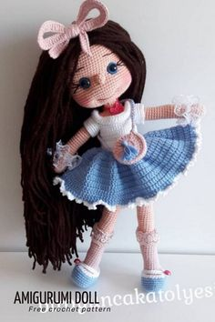 Amigurumi doll free crochet pattern girl #crochetdoll #dollcrochet Doll Amigurumi Free Pattern, Amigurumi Doll, Crochet Dolls, Crochet Hats, Cut The Ropes, Yarn Crafts, Baby Toys, Free Crochet, Bows