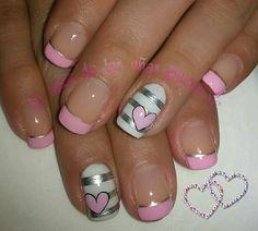 Uñas Solar Nail Designs, White Nail Designs, Cool Nail Designs, Sexy Nails, Cute Nails, Pretty Nails, Pink White Nails, Pink Nails, Mickey Mouse Nail Art