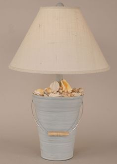 Blue Barnucles Decor Bucket of Shells lamp