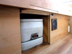 toilet, 12V socket, fan, entry light, 110V outlet  cargo van conversion website