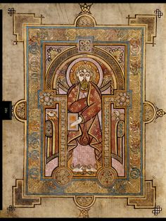 Portrait of St. Matthew. The Book of Kells is many things, but above all else it is a Latin text of the four gospels according to Saints Matthew, Mark, Luke and John. Consequently, the evangelists figure prominently throughout the book. Although individual portraits of St. Luke and St. Mark were either not completed or have been lost, there is no doubt that the intention was that each of the individual gospels would be prefaced by a portrait of the appropriate evangelist.