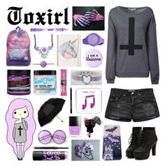 """""""The Pastel Goth"""" by toxirl ❤ liked on Polyvore featuring Glamorous, MANGO, Rip Curl, Mary Kay, Maybelline, Paper Mate and Manic Panic"""