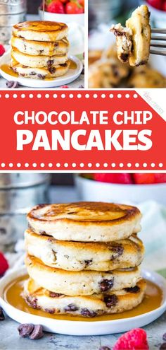 Light, fluffy homemade pancakes loaded with chocolate chips. Perfect when you are craving something sweet! This chocolate chip pancake recipe is so easy! Christmas Pancakes, Christmas Breakfast, Christmas Morning, Christmas Christmas, Jamberry Christmas, Christmas Ideas, Savory Breakfast, Breakfast Bars, Morning Breakfast