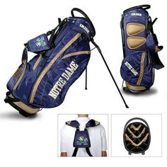 Notre Dame Fighting Irish Golf Bag. This new lightweight stand bag is full of features. The Fighting Irish golf bag includes integrated top handle, 14-way full length dividers, 6 location embroidery l