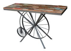 Reclaimed Wood Vintage Wheel Study Table