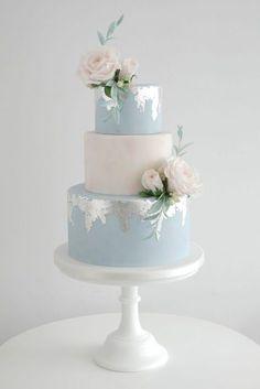 Distressed Silver leaf wedding cakes