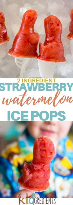 Two ingredients strawberry and watermelon ice pops easy to make a delicious! Get ready for summer now! Refined sugar free and super fast to make! #kidsfood #familyfood #iceblocks #icepops #refinedsugarfree via @kidgredients