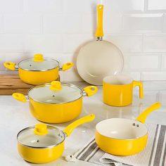 Conjunto de Panelas com Revestimento Cerâmico Colors 6 Peças Amarelo La Cuisine