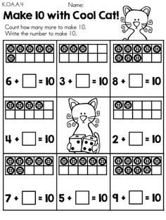 Make 10 with Cool Cat >> Part of the Cool Cats in Kindergarten Math & Literacy Worksheets Packet