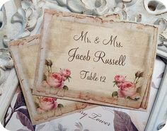 Personalized with your guests name.  Second photo shows texture in paper    *Printed on linen cardstock. *Hand Cut  *Available in any