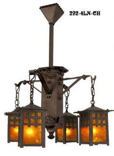 J Morgan Arts & Crafts 4 Lantern Chandelier (292-4LN-CH)