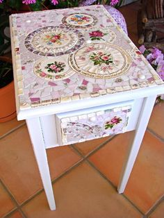 Mosaic Nightstand Side Table with Vintage China via Etsy