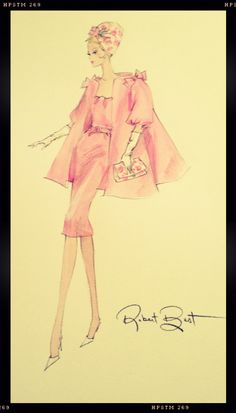 This Sketch from the Paris Convention Silkstone Barbie doll by Robert Best was donated for the auction at that convention.