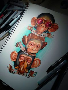 Three monkeys, colore neo traditional tattoo, drawing illustration, steampunk, di Eleonora bordoni