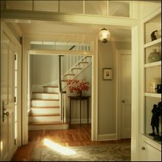 Entry foyer with transoms - Huestis Tucker Architects, LLC - The Trim is Benjamin Moore White Dove. The wall paint is Benjamin Moore Gray Owl - this house is in WOODBRIDGE! Home Interior, Interior And Exterior, Interior Doors, Interior Design, Entryway Paint Colors, Paint Colours, Bathroom Colors, Bungalow, Transom Windows