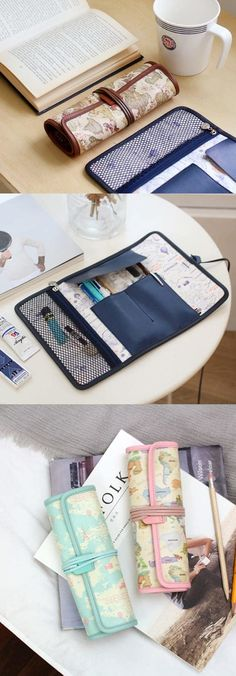 The World Map Roll Pen Case provides you a unique way to store and carry your writing utensils! Place your pens and other small items in the compartments and a mesh pocket, and then roll the case to carry it conveniently!