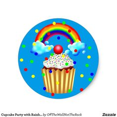 Cupcake Party with Rainbow & Sprinkles Classic Round Sticker