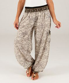 Look at this #zulilyfind! Gray Damask Harem Pants #zulilyfinds
