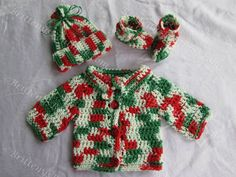 Baby's Crochet Sweater, Hat, and Booties - Red, Green, and White - Christmas Style - Newborn Size  This is perfect for bringing home a winter baby!!  Also, it could be useful for taking a new baby to that special holiday event!  Made with 100% cotton yarn.  Always handmade with LOVE!!  ...