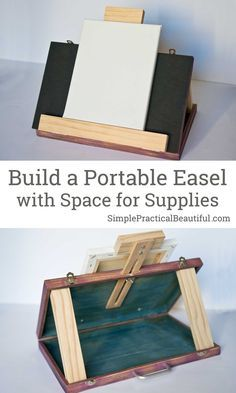 Build a portable DIY artist easel with space to store paints, upcycle from an old wood suitcase art diy art easy art ideas art painted art projects Woodworking Desk Plans, Woodworking Projects, Diy Projects, Woodworking Classes, Diy Easel, Wooden Easel, Diys, Ideas Para Organizar, Artists