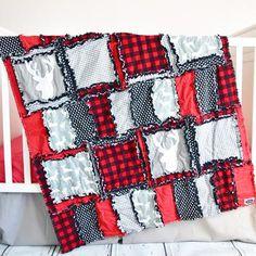 Red / Black / Gray Woodland Crib Quilt
