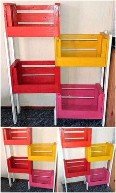 This project of wood pallet shelving rack is simple, swift and amazing creation to be crafted. Use your leisure time to build this multi-color shelving rack to keep your food items in it. This will not only increase the beauty of your kitchen with its beautiful color combination but also provide you a different shelving idea for placing food items. #pallets #woodpallet #palletfurniture #palletproject #palletideas #recycle #recycledpallet #reclaimed #repurposed #reused #restore #upcycle #diy