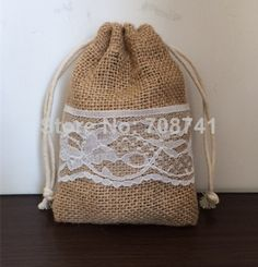 """Aliexpress.com : Buy Size: 4""""X6"""", 50pcs/lot, Burlap drawstring bag,Jute burlap gift drawstring bag for wedding with lace, custom size acceptable from Reliable custom print gift bags suppliers on LIVE GREEN BAGS"""