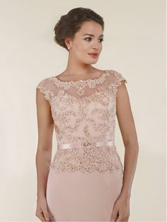 Cap Sleeves Illusion Neckline Lace and Chiffon Mother of The Bride Dresses 99803011 Summer Dresses With Sleeves, Mother Of The Bride Dresses Long, Mother Of Bride Outfits, Mob Dresses, Party Wear Dresses, Party Dress, Elegant Dresses, Pretty Dresses, Blue Bridesmaid Dresses Short