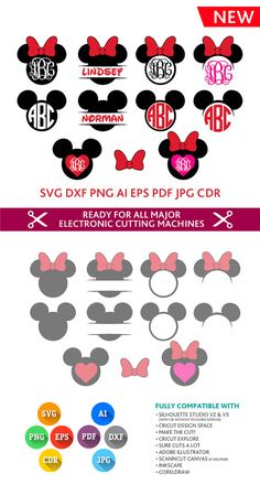 Mickey Minnie Mouse Monogram SVG Frames Heads Cut Files - SVG DXF Silhouette Studio Png Eps Pdf Jpg Ai Cdr Silhouette Studio, Cricut, Cameo